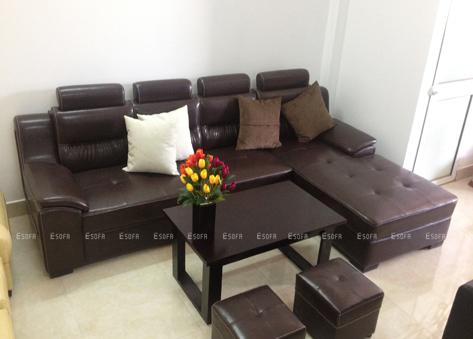 Sofa da góc hiện đại E30