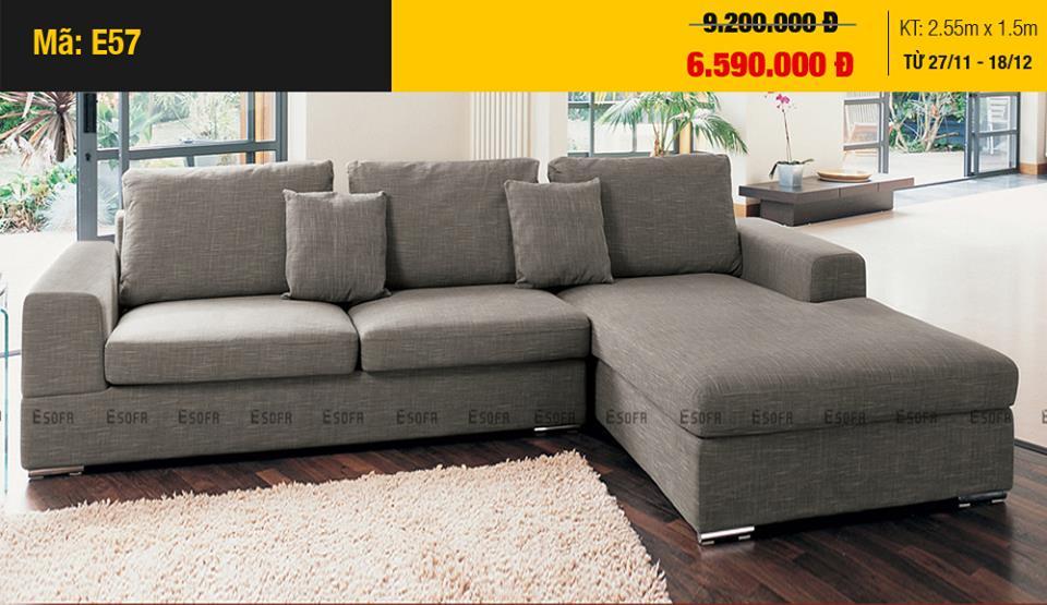 Sofa góc nỉ giá rẻ tại ESOFA thiết kế hiện đại, chất lượng cao