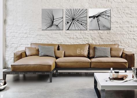 Sofa gỗ chữ L sang chảnh cho phòng khách hiện đại