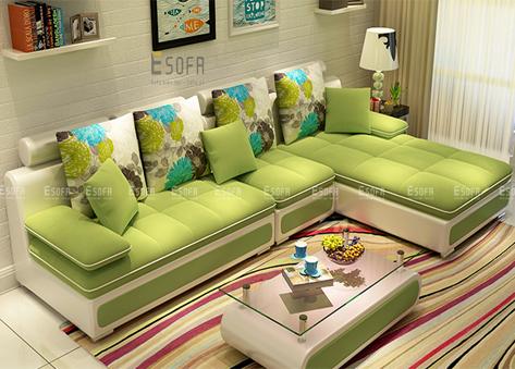 Sofa góc da kết hợp nỉ E42A