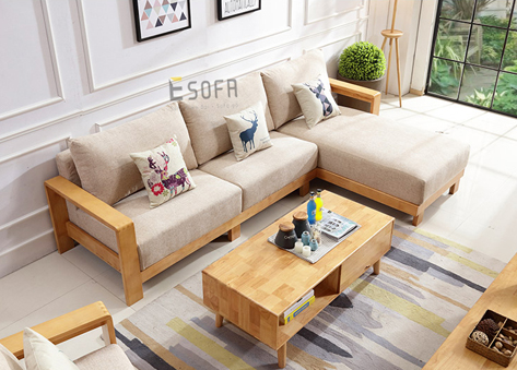 Sofa góc gỗ đệm nỉ E216