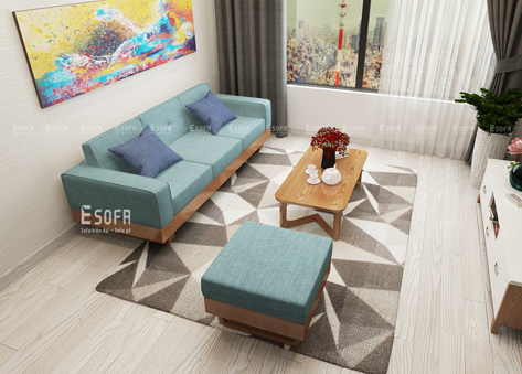 Sofa văng gỗ đệm nỉ E218