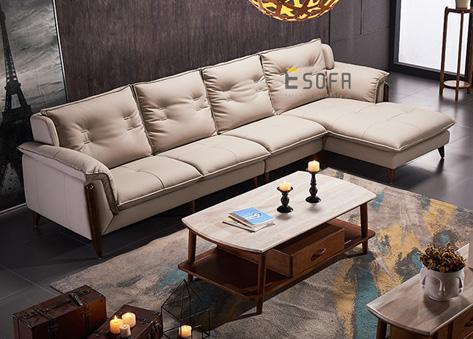 Sofa da góc hiện đại E100