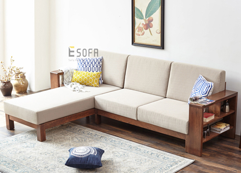 Sofa gỗ góc đệm E212